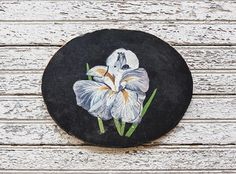 A vintage oil painting on board of a blue iris  With a deep velvet black background the image really stands out Lots of lovely detail and color with a matte finish  Would look especially lovely on a summer cottage or farmhouse wall, above a mantle or decorating a bedroom or bath, framed or