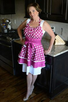Womens Flirty Retro Apron – Berry Purple Polka Dot Sexy Kitchen Apron with Pocket and Personalized Option - Fashion City Flirty Aprons, Cute Aprons, Bodice Top, Retro Apron, Apron Pockets, Kitchen Aprons, Layered Skirt, My Guy, Shades Of Purple