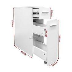 FoxHunter Slimline Bathroom Slide Out Storage Drawer Cabinet Cupboard Unit White