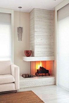 cozy corner fireplace design ideas in the living room . cozy corner fireplace design ideas in the living room Corner Gas Fireplace, Small Fireplace, Bedroom Fireplace, Home Fireplace, Living Room With Fireplace, Cozy Living Rooms, Fireplace Design, Home And Living, Fireplace Ideas