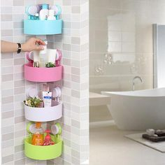 Genuinely getting excited about trying this one. Simple Bathroom Ideas Shower Shelves, Bathroom Shelves, Bathroom Storage, Small Bathroom, Kitchen Storage, Bathroom Wall, Kitchen Shelves, Bathroom Showers, Bathrooms