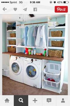 I like the shelves for baskets. Maybe a cabinet on one side and shelves on the other?