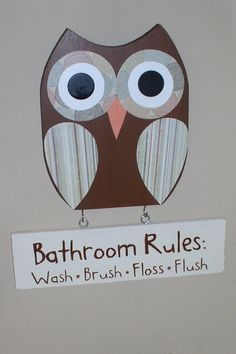 owl bathroom canvas or prints funky whimsical owls girl owl theme sister brother shared bath wash brush rules child kidset of 4 decor wash brush