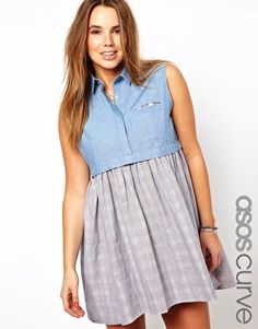 ASOS CURVE Stripe Chambray Skater Dress With Check Underlay  $63.52
