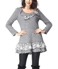 Another great find on #zulily! Gray Floral Lace-Trim Scoop Neck Sweater #zulilyfinds