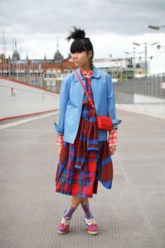 English street style:Vintage Pendleton dress, vintage Neil Barrett leather jacket, Monki red checked shirt, Mundi cardigan wrapped around waist, Jaeger Boutique bag, Ayame socks, Tsumori Chisato shoes.