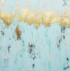 White Gold Leaf Mixed Media Abstract Painting with water color, acrylic and gold leaf, mint green, gray, 20x20 COLORS - Gold, mint green, gray Add a beautiful splash of elegance to any space with this mixed media painting.  The textures are beautiful with a softer watercolor background and acrylic knife textures.  Add in the gold leaf accents it's one of my favorites! 20x20x1.5