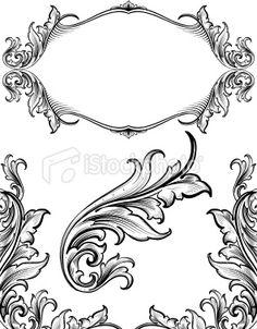 Arabesque Growth Set hand engraved scrollwork Royalty Free Stock Vector Art Illustration