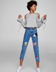 Pull&Bear - woman - clothing - what's new - mickey mouse mom fit jeans - blue - 05685325-V2017