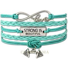(10 PCS/Lot) Infinity Love Strong is beautiful Barbell Charm Fitness Bracelet Best Gift Wax & Leather Custom Any Themes(China (Mainland))