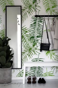 Removable wallpaper Palm Leaf Wallpaper Temporary wallpaper Self adhesive wallpaper Floral wallpaper Peel and stick wallpaper # 32 Palm Leaf Wallpaper, Temporary Wallpaper, Peel And Stick Wallpaper, Green Wallpaper, Nature Wallpaper, Washable Paint, Inspirational Wallpapers, Self Adhesive Wallpaper, My New Room