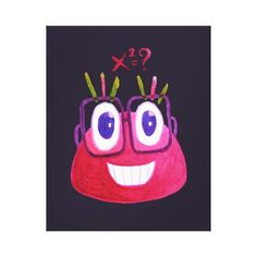 Cute Watercolor Geek Candy Character Mathematician Canvas Print - decor gifts diy home & living cyo giftidea