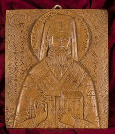 Saint Jerome d'Egine aromatiques Christian icône Plaque murale fait avec encens et de cire d'abeille pure mastic
