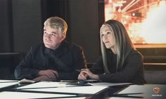 Plutarch and President Coin in Mockingjay Part 1.