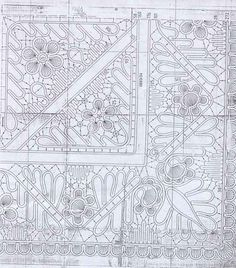 Tablecloth pattern - Romanian point lace.  This is one quarter (1 corner) of the pattern. Make 4 copies for whole pattern.