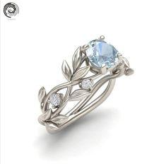 £1.35 GBP - Fashion Olive Leaves 18K Silver Round Cut Aquamarine Ring Wedding Jewelry/Yyh #ebay #Fashion