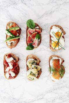 Slight variation on the open sandwich. Easy to prepare if you have ingredients pre - chopped. Love these delicious quick snacks for moms