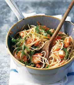 prawns with rocket, garlic and chillis