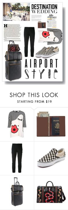 """""""Airport Style: Destination Wedding"""" by rhaxkido ❤ liked on Polyvore featuring Maison Margiela, Royce Leather, Vince, Vans, STELLA McCARTNEY and Gucci"""