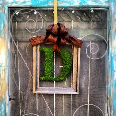 Framed Moss covered monogram wreath by CLMahler on Etsy, $55.00