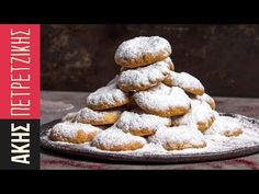 Quick Greek Shortbread Cookies - Kourabiedes by Greek chef Akis Petretzikis. Festive, delicious, crumbly almond shortbread cookies that melt in your mouth! Greek Sweets, Greek Desserts, Easy Desserts, Coconut Flour Cookies, Almond Shortbread Cookies, Sweets Recipes, Raw Food Recipes, Kourabiedes Recipe, Christmas Dishes