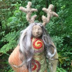 Sacred Familiar medicine doll - DeerWoman for the women of Dublin Wool Dolls, Felt Dolls, Baby Blessing, Needle Felting, Garden Sculpture, Vintage Items, Dublin, Medicine, Spirituality