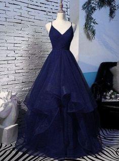 Pretty Prom Dresses, A Line Prom Dresses, Navy Blue Prom Dresses, Long Party Dresses, Navy Blue Quinceanera Dresses, Navy Blue Gown, Formal Prom Dresses, Blue Ball Dresses, Tulle Prom Dress