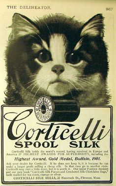 Cats in Illustration: Corticelli Spool Silk Advertisement (1902)