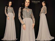 TERANI COUTURE 2011M2126 authentic dress. Official retailer. FREE UPS/FEDEX   eBay Terani Couture, Beaded Chiffon, Bridesmaid Dresses, Wedding Dresses, Couture Collection, Pleated Skirt, Types Of Sleeves, Wedding Styles, Ball Gowns