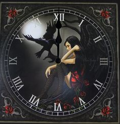 Moonmaiden Gothic Clothing -  Raven Angel Clock