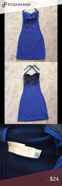 Victoria's Secret Navy Blue Ipex Bra Top Dress Victoria's Secret Navy Blue Ipex Halter Bra Top Dress, Size 34C, Built in Ipex Bra, Never actually wore it, but it was washed so it's not listed as NWOT Victoria's Secret Dresses