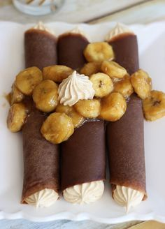 Chocolate Crepes with Peanut Butter Marshmallow Filling and Caramelized Bananas #dessert #foodporn #dan330 http://livedan330.com/2015/02/27/chocolate-crepes-peanut-butter-marshmallow-filling-caramelized-bananas/