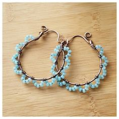Blue wire wrapped hoops copper wire jewelry by FromRONIKwithLove