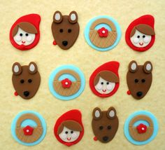 LITTLE Red RIDING HOOD Fondant Cupcake Toppers.