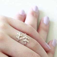 Sterling Silver Leaf Ring - rings