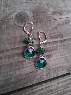 Emerald green and silver earrings by Tootsiejos on Etsy, $20.00