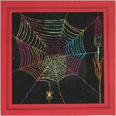Spider web You need: white drawing paper from 20 by 20 cm oil pastel crayons black paint brushes toothpicks coloured construction paper I. Artists For Kids, Art For Kids, Kratz Kunst, Oil Pastel Crayons, Theme Halloween, October Art, Scratchboard Art, Drawing Sheet, Black Construction Paper
