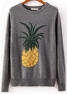 Shop Grey Long Sleeve Pineapple Print Knit Sweater at Pariscoming, personal womens clothing online store! high quality, cheap and big discount, latest fashional style! Cute Pineapple, Pineapple Print, Pineapple Pattern, Pineapple Clothes, Pineapple Outfit, Pineapple Necklace, Fashion Mode, Street Fashion, Sweater Weather