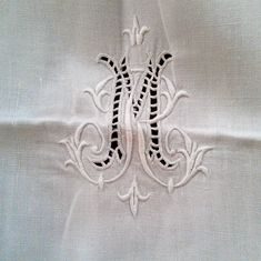French antique monogrammed embroidered linen sheet. $175.00, via Etsy.