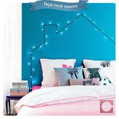 Cabeceira iluminada! Faça você mesmo uma cabeceira de cama com luzinhas tipo pisca-pisca. #FaçaVocêMesmo