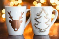 DIY Christmas mugs #sharpie