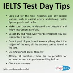 IELTS Reading tips for test day Keep calm and do your best. #IELTS #Test #Tips