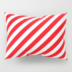 Christmas Red and White Candy Cane Stripes Pillow Sham (2.315 RUB) ❤ liked on Polyvore featuring home, bed & bath, bedding, bed accessories, red white bedding and red and white bedding