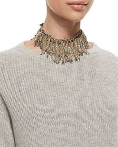 Brunello Cucinelli Beaded Fringe Choker Necklace