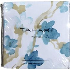 Tahari Luxury Cotton Blend Shower Curtain Printemps Orange Yellow Aqua Turquoise Floral Branches