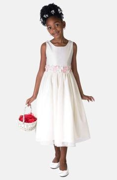 Sorbet Flower Satin Dress. Delicate daisies adorn the elegant Empire waist and back sash ties of a sleeveless scoop-neck dress with a mesh-lined satin skirt. Style Name:Sorbet Flower Satin Dress (Toddler Girls, Little Girls & Big Girls). #Affiliate