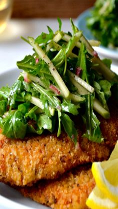 Chicken Milanese with Green Apple Slaw