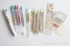 muji gel pens, multi pen and stamp