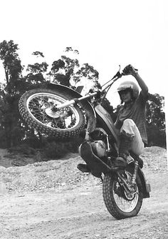 It's been awhile since I've found a solid vintage wheelie by a female rider.... Bultaco Alpina 350. NSW Australia, 1974