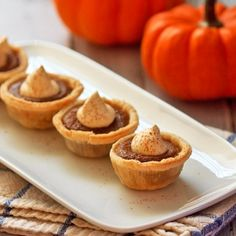 Healthy Mini Pumpkin Pies with agave nectar and almond milk.
